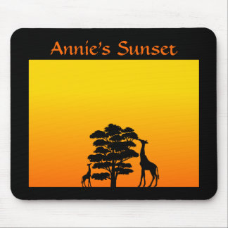 Giraffe in Sunset Mouse Pad