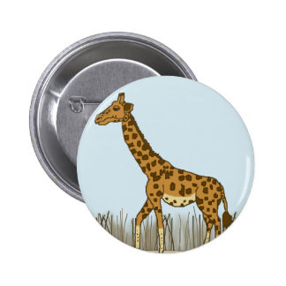 Giraffe in the Grasslands Button
