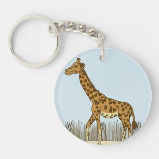 Giraffe in the Grasslands Keychain