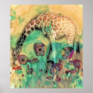 Giraffe In The Poppies Poster