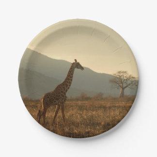 Giraffe in the Savannah Paper Plate