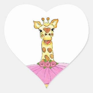 Giraffe in Tutu Heart Sticker
