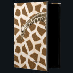 "Giraffe iPad Air 2 Case<br><div class=""desc"">Fun iPad Air 2 case, with built in stand, and graphics of a brown and tan giraffe fur pattern. A graphically enhanced photo of a giraffe&#39;s head and neck stretches across the front of the case. Brown text on the front is ready to personalize for yourself or as a great...</div>"