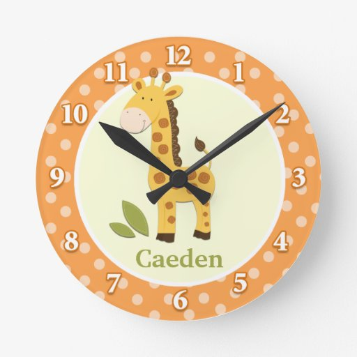 Giraffe Jungle Adventure (Orange) Wall Clock