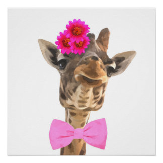 Giraffe jungle african wild animal nursery poster