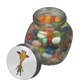 Giraffe Jungle Friends Baby Animal Water Color Jelly Belly Candy Jar