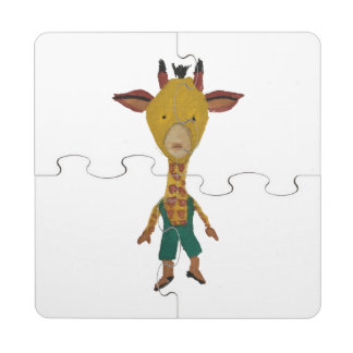 Giraffe Jungle Friends Baby Animal Water Color Puzzle Coaster