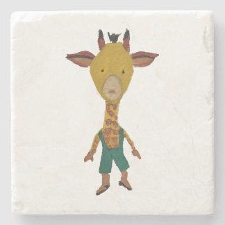 Giraffe Jungle Friends Baby Animal Water Color Stone Coaster