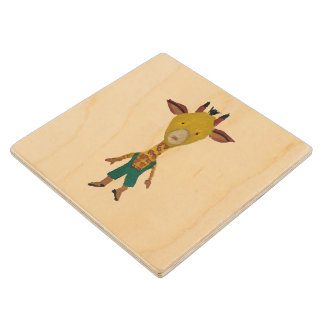 Giraffe Jungle Friends Baby Animal Water Color Wooden Coaster