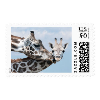 Giraffe Kisses Her Calf Postage