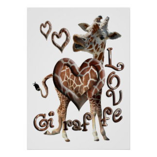 GIRAFFE KISSES LOVE -  HEART RINGS FRAMED PRINT