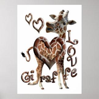 GIRAFFE KISSES LOVE -  HEART RINGS FRAMED PRINT