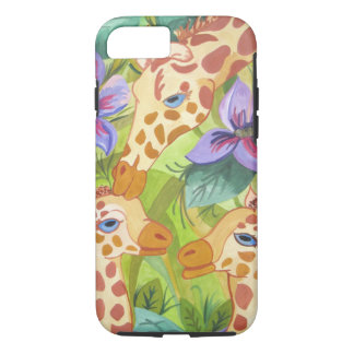 Giraffe Kisses, mother and babies iPhone 8/7 Case