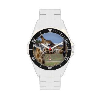 Giraffe_Kissing_A_Tall_Pole, _Wristwatch Reloj De Mano