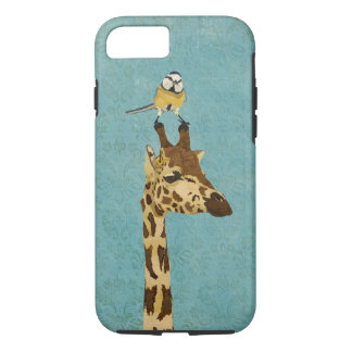 Giraffe & Little Bird Blue iPhone 7 case