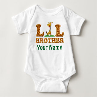 Giraffe Little Bother Personalized With Your Name Baby Bodysuit