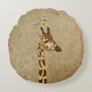 Giraffe & Little Gold Bird Pillow