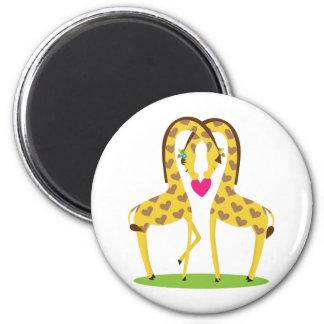 Giraffe Love 2 Inch Round Magnet