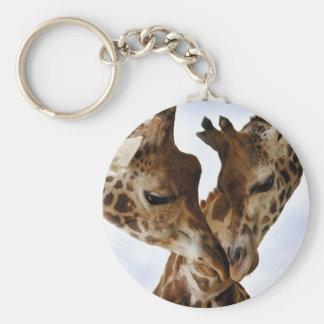 giraffe love basic round button keychain