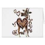 GIRAFFE LOVE BLOWING SMOKE RING HEARTS AND KISSES GREETING CARD