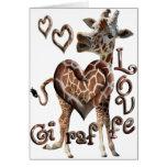 GIRAFFE LOVE BLOWING SMOKE RING HEARTS AND KISSES GREETING CARDS