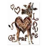 GIRAFFE LOVE BLOWING SMOKE RING HEARTS AND KISSES POSTCARDS