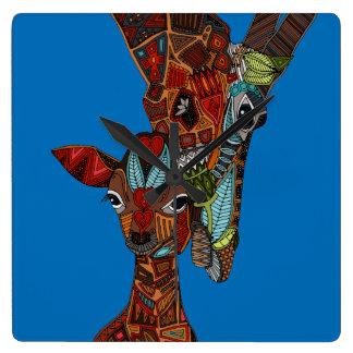 giraffe love blue square wall clock