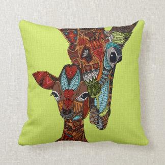 giraffe love chartreuse throw pillow