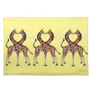 Giraffe Love cloth placemat