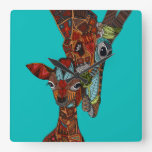 giraffe love turquoise clocks