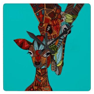 giraffe love turquoise square wall clock