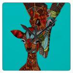 giraffe love turquoise square wall clocks