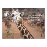 "Giraffe love Wedding Invitations 5"" X 7"" Invitation Card"