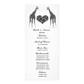 Giraffe Love Wedding Program