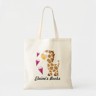 Giraffe Lover Book Tote Bag with name