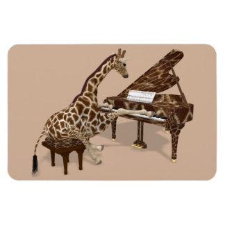 Giraffe Loves To Play Piano Rectangular Photo Magnet