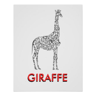 GIRAFFE made with little PEOPLE faces Poster