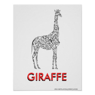 GIRAFFE made with little PEOPLE faces Posters