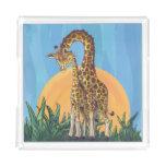 Giraffe Mama and Baby Acrylic Tray