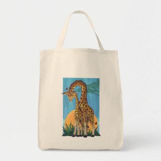Giraffe Mama and Baby Grocery Tote Bag