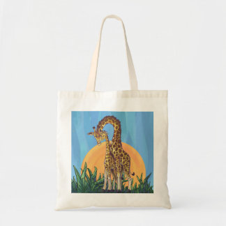 Giraffe Mama and Baby Budget Tote Bag