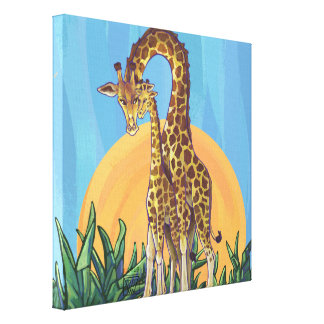Giraffe Mama and Baby Canvas Print