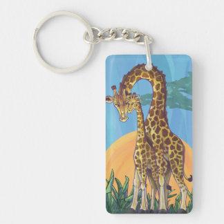 Giraffe Mama and Baby Keychain