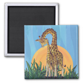 Giraffe Mama and Baby 2 Inch Square Magnet