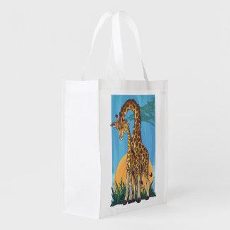 Giraffe Mama and Baby Reusable Grocery Bag