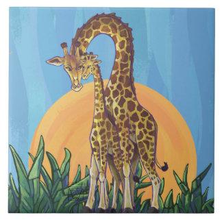 Giraffe Mama and Baby Tile