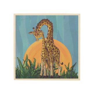 Giraffe Mama and Baby Wood Print