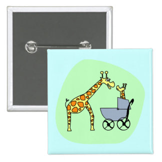 Giraffe Mom and Baby Button