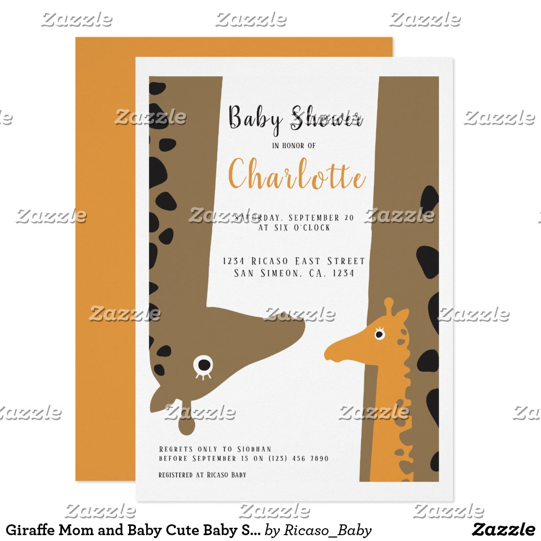 Giraffe Mom and Baby Cute Baby Shower Invitation