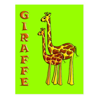 Giraffe Mom and Baby Postcard